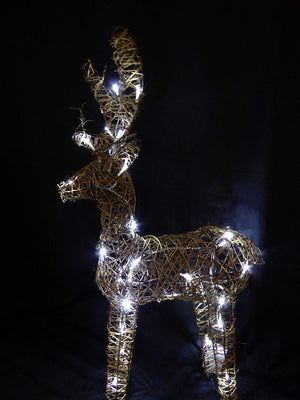 Large Light Up 90cm 3ft Pre Lit Rustic Brown Reindeer Figure Ornament Bright White LED Lights Battery Operated Indoor Outdoor Christmas Decoration