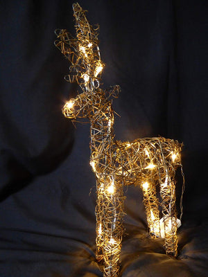 Large Light Up 60cm 2ft Pre Lit Rustic Brown Reindeer Figure Ornament Warm White LED Lights Battery Operated Indoor Outdoor Christmas Decoration