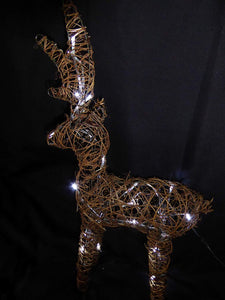 Large Light Up 60cm 2ft Pre Lit Rustic Brown Reindeer Figure Ornament Bright White LED Lights Battery Operated Indoor Outdoor Christmas Decoration