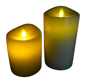 Living Flame Real Wax Candle Set of 2 12.5 and 18cm Vanilla Scented Timer Candles
