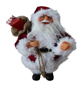 Christmas Decorations - 30cm Standing Father Christmas Soft Toy Ornament - Luxury Traditional Santa