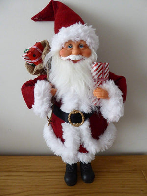 Christmas Decorations - 50cm Standing Father Christmas Soft Toy Ornament - Luxury Traditional Santa
