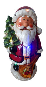Traditional 28cm LED Lit Dolomite Santa With Lights And Music Standing Ornament - Indoor Home Decoration