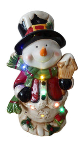 Traditional 28cm LED Lit Dolomite Snowman With Lights And Music Standing Ornament - Indoor Home Decoration