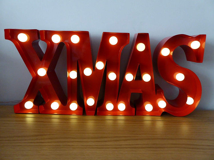 Red Metal XMAS Sign 24 Warm White LED Lights Christmas Decoration - Battery Operated