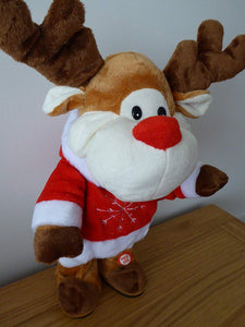35cm Singing Reindeer - Moving Dancing Animation Christmas Decoration