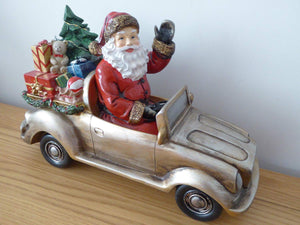 Traditional Luxury 31cm Glitter Santa Car Ornament With Presents Waving - Indoor Home Decoration