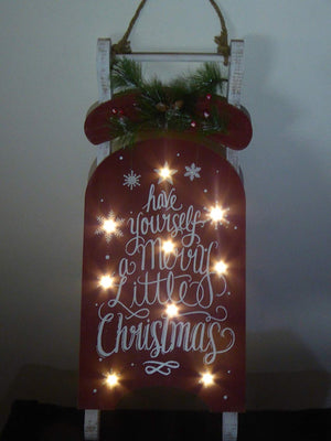 60cm Wooden Hanging Lit Merry Christmas Sledge 12 White LED Lights Battery Operated Christmas Decoration