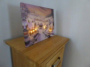 Christmas Decorations - 40 x 30 Village Pub Canvas Print
