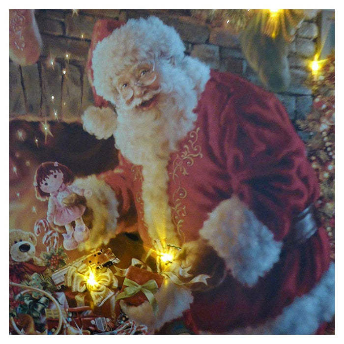 Christmas Decorations - 40 x 30 Santa By Fireplace Canvas Print
