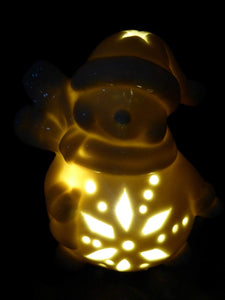 Traditional 10cm LED Lit Porcelain Snowman With Scarf Standing Ornament - Indoor Home Decoration