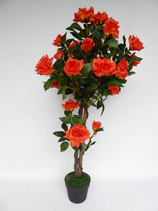 UK-Gardens 1M 3ft Artificial Rose Tree In A Pot - Artificial Potted Trees Plants Roses (Red)