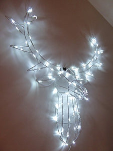 Light Up 90cm Wall Hanging Reindeer Stag With Bright White LED Lights Indoor Outdoor Christmas Decoration
