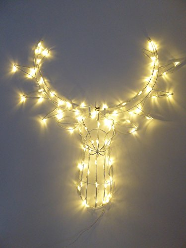 Light Up 90cm Wall Hanging Reindeer Stag Head With Warm White LED Lights Indoor Outdoor Christmas Decoration