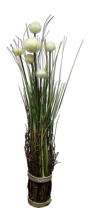 90cm 3ft Large Artificial Cream Potted Pom Pom Pampas Grass