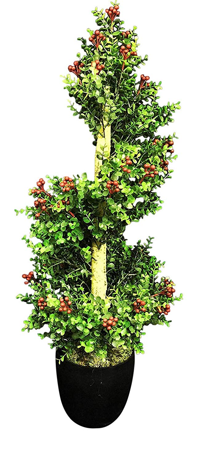 Artificial Potted Plants - 1m 3ft Spiral Red Berry Topiary Tree - Indoor Office House Plant