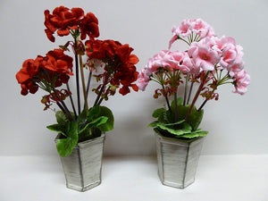 UK-Gardens 30cm Artificial Potted Plant - Red Geranium Flowers in Shabby Chic Grey Modern Pot