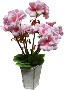 UK-Gardens 30cm Artificial Potted Plant - Pink Geranium Flowers in Shabby Chic Grey Modern Pot
