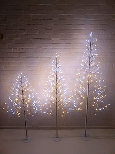 Light Up 4ft,1.2m Flat White Twig Tree Pre Lit Warm White and Bright White LED Lights Christmas Decoration (4ft)