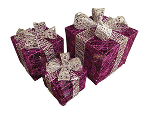 Large Glitter Purple And Silver Light Up Christmas Parcels Set With LED Lights Indoor Outdoor Decorations - Battery Operated