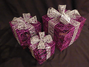Large Glitter Purple And Silver Light Up Christmas Parcels Set With LED