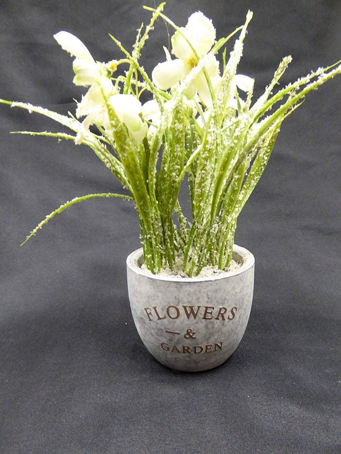Artificial Potted Plant - 22cm White Frosted Snowdrops in Grey Stone Pot - Stunning Houseplant