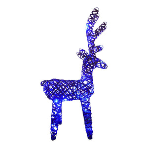 Large Light Up 90cm 3ft Pre Lit Rustic Rattan Brown Reindeer Figure Blue LED Lights Battery Operated Indoor Outdoor Christmas Decoration