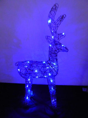 Large Light Up 90cm 3ft Pre Lit Rustic Twig Brown Reindeer Figure Blue LED Lights Battery Operated Indoor Outdoor Christmas Decoration