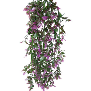 Artificial Plants - 65cm Large Green and Purple Ruscus Plant Foliage - Hanging Trailing