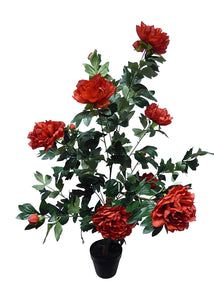 Artificial Potted Plant - 3ft Large Red Peony Tree Bush In A Black Plastic Pot - House Office Indoor Plants