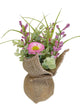 UK-Gardens - Artificial 20cm Pink Daisies in a Hessian Wrap Pot