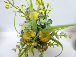 UK-Gardens - Artificial 20cm Yellow Daisies in a Hessian Wrap Pot