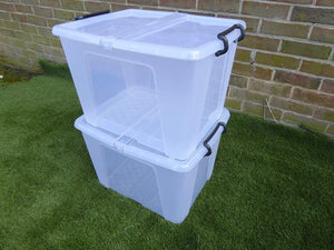 Heavy Duty Stacking Plastic Storage Boxes with Lid Locking Handles 3 sizes (40 Litre)