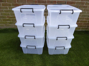 Heavy Duty Stacking Plastic Storage Boxes with Lid Locking Handles 3 sizes (24 Litre)