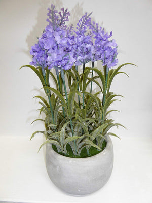 UK-Gardens - Artificial 26cm Lilac Purple Lavender Plant In Concrete Round Pot