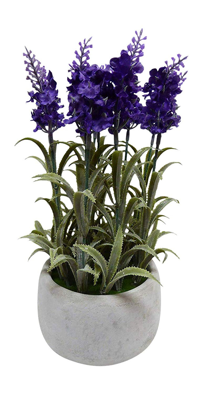 UK-Gardens - Artificial 26cm Dark Purple Lavender Plant In Concrete Round Pot