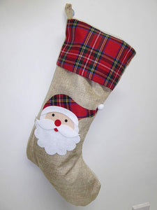 50cm Christmas Tartan Santa Hessian Stocking - Indoor Decoration
