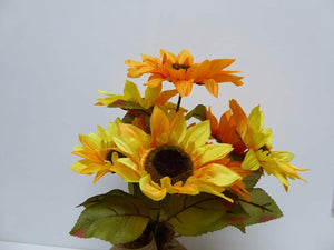 UK-Gardens - Artificial 40cm Yellow Sunflowers in a Hessian Wrap Pot