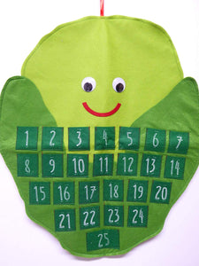 67cm Sid the Sprout Large Felt Hanging Advent Calendar - Red and Green Christmas Decoration