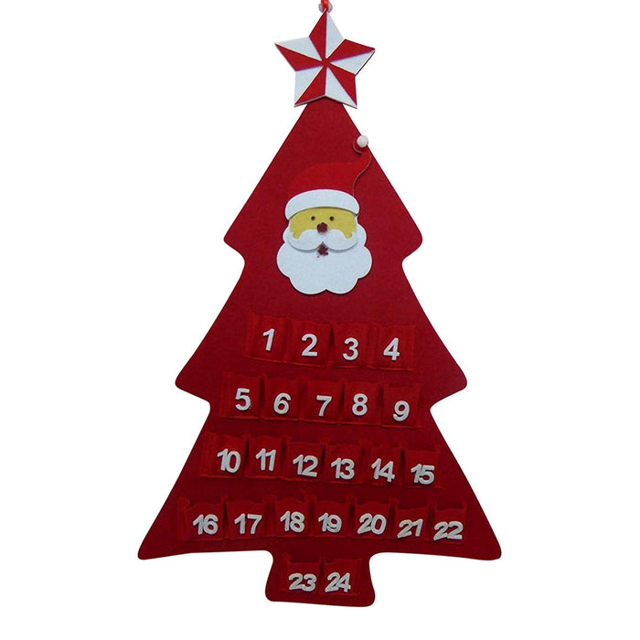 Red Santa Large Felt Christmas Tree Hanging Advent Calendars - Christmas Decoration (Red SANTA)