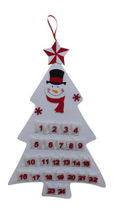 White Snowman Large Felt Christmas Tree Hanging Advent Calendar - Christmas Decoration (White SNOWMAN)