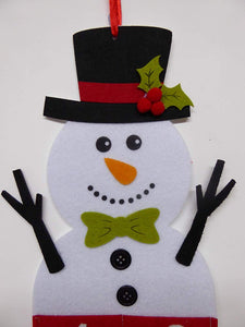 UK-Gardens Snowman 100cm Large Felt Hanging Advent Calendar - White Snowman
