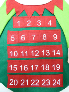 80cm Large Christmas Elf Felt Hanging Advent Calendar - Red and Green Christmas Decoration