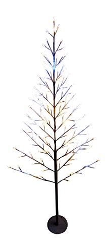 Light Up 5ft 150cm Flat White Twig Tree Pre Lit Warm White and Bright White LED Lights Christmas Decoration (5ft)