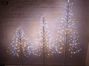 Light Up 4ft, 5ft, 6ft Flat White Twig Trees Pre Lit Warm White and Bright White LED Lights Christmas Decoration (6ft)