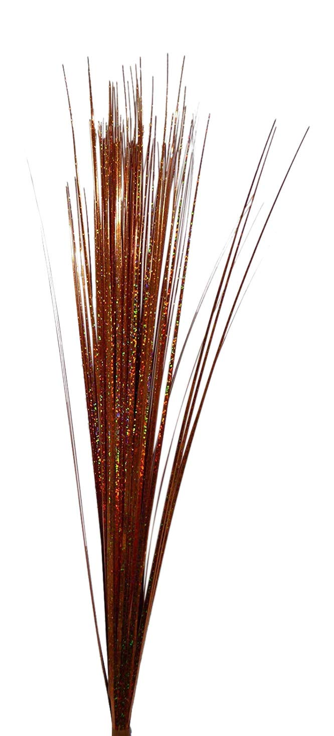 Artificial Flowers - 70CM Silver And Copper Glitter Spray Onion Grass - House Office Indoor Decoration (Copper)