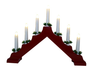 UK-Garden Light Up Red Candle Bridge With 7 Warm White Lights, Battery Operated with Timer 40cm x 33cm - Christmas Indoor Home Decoration