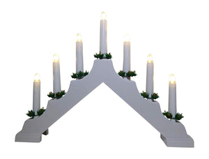 UK-Garden Light Up White Candle Bridge With 7 Warm White Lights, Battery Operated with Timer 40cm x 33cm - Christmas Indoor Home Decoration