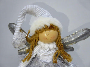 SILVER 40cm Standing Angel Fairy