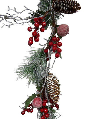 UK-Gardens 140cm 5ft Artificial Berry and Frosted Apple Garland Christmas Decoration